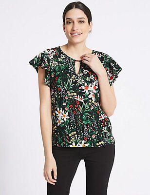 Front Floral Print Top (Per Una Floral Print Woven Front Top 10/12/16/18 RRP £25)