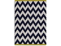 M&S Medium Chevron Wool Rug in Navy Mix (120x170cm)