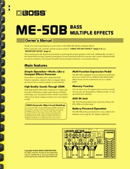 Boss ME-50B BASS Multi-effects OWNER S MANUAL  - $19.95