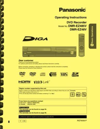 Panasonic DMR-EZ485V DMR-EZ48V DVD Recorder OWNER