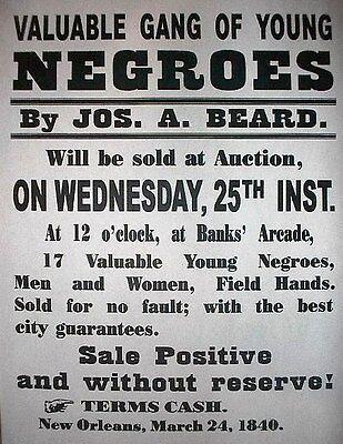 "(045) SLAVERY GANG OF YOUNG NEGROES CIVIL WAR BROADSIDE 11""x14"""