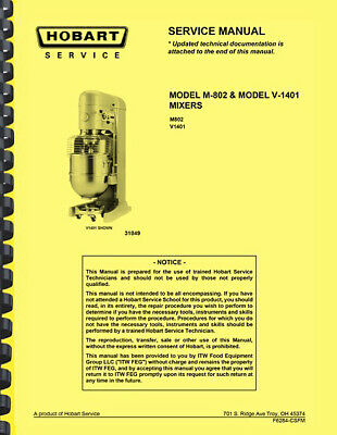 Hobart M-802 V1401 Mixer Repair Service Manual And Catalog Of Replacement Parts