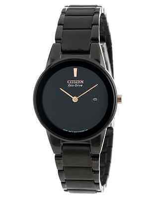 NWT Ladies Citizen GA1055-57F Eco-Drive Axiom Black Stainless Steel Watch