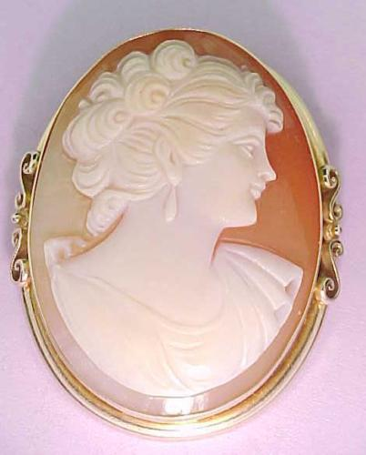 Cameo Pin Pendant Italian 14k Solid Gold Large Genuine Carved  skaisMAY18