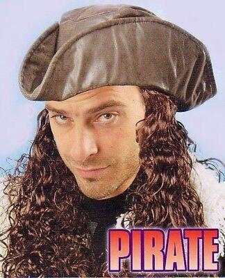 DREISPITZ PIRATENHUT HAAREN HUT f. KOSTÜM PIRAT - Piraten Kostüm Haar