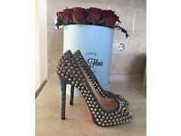 100% authentic Christian Louboutin spiked limited Edition heels shoes sandals 38 LV YSL Zara
