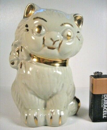 Old Ceramic Glazed China Figural Cat Bank (Hubley Cast Iron Form)