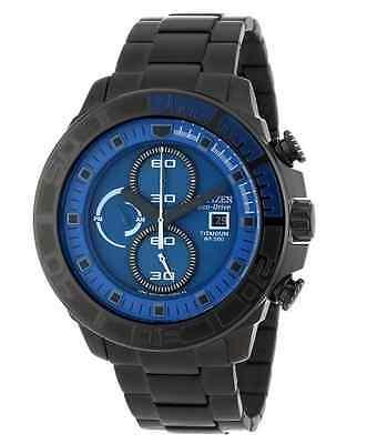 NWT Men's Citizen CA0525-50L Eco-Drive Blue Chronograph Black Titanium Watch