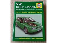 Haynes manual for VW Golf and Bora R to X reg.