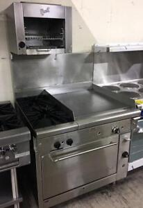 Quest oven with 2 burners - flat top grill and salamander - combo - refurbished with warranty