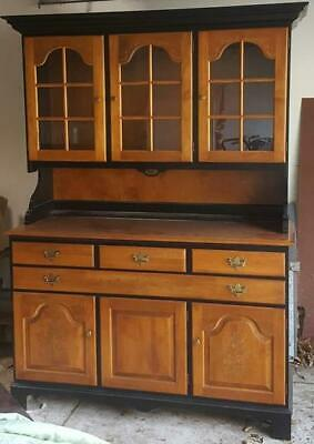 Fabulous Wood and Black Finish Hoosier China Hutch - VGC - BEAUTIFUL PIECE