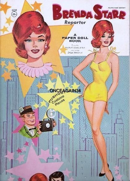 VINTAGE UNCUT 1964 BRENDA STARR PAPER DOLLS~#1 REPRODUCTION~#1 SELLER~SCARCE!