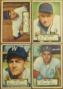 LOT OF 10 DIFFERENT 1952 TOPPS BASEBALL CARDS VG to VG/EX w/ PETE RUNNELS Rookie