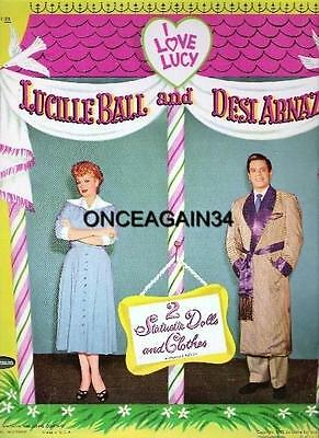 VINTAGE UNCUT 1953 'I LOVE LUCY' LUCILLE BALL & DESI PAPER DOLLS~#1 REPRODUCTION