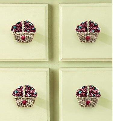 Country Cabinet Pulls - Cabinet Door Knob Handles Kitchen Drawer Pulls Country Basket Berries Set of 10