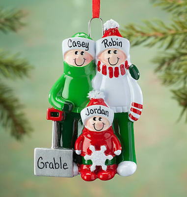 NAME PERSONALIZED Shovel Family of 2 3 4 5 Couple Christmas Tree Ornament Gift