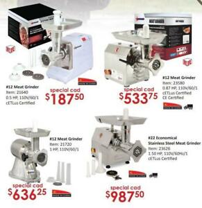 Attention Hunters! Food equipment On Sale: meat grinders, sausage stuffers, vacuum packaging machines