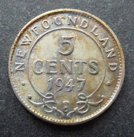 Newfoundland Canada 1947-C Five 5 Cents King George VI Silver Coin AU