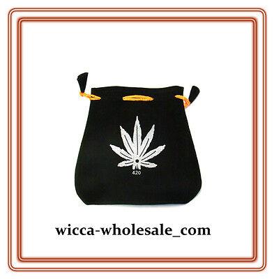 Black Velvet Bag Pouch 5 X 5 Hemp Leaf Wicca Talisman Drawstring Tarot