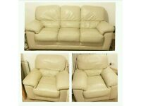 3 Seater Sofa 2 Arm Chairs. Cream. Leather
