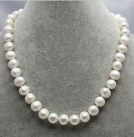 8-9MM White Cultured Pearl Necklace Strand 14K Solid Gold Clasp