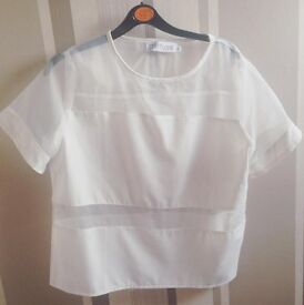 Missguided (size 10) Mesh White Top
