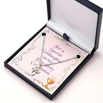 Heilige Erstkommunion Schmuck für Mädchen, Kreuz Halskette auf Auswahl Karten (Kreuz Halskette Für Mädchen)