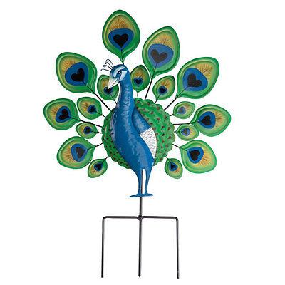 Peacock Lawn Stake Decoration Metal Yard Art Outdoor Garden Planter Bird Decor B