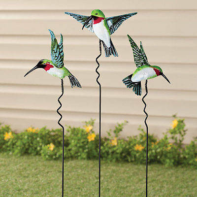 NEW ~ Set of 3 Metal Hummingbird Lawn Garden Decor Outdoor Yard Stake