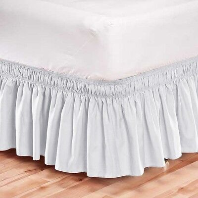 Elastic Bed Skirt Dust Ruffle Easy Fit Wrap Around White Color King Size