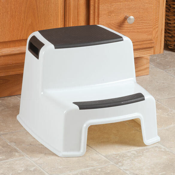 2 Step Stool Plastic up to 280 lbs Two Tier Portable Steps I