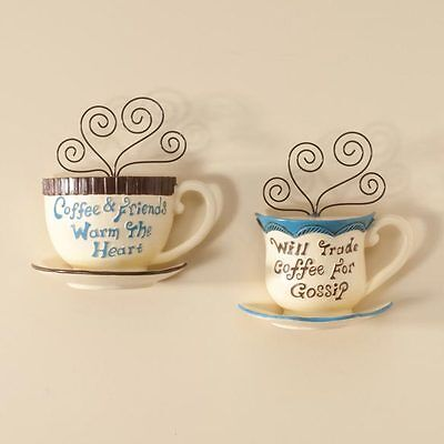New Design Coffee Cup Wall Decor Set of 2 Mugs Wall Art Home Kitchen Cafe Mocha