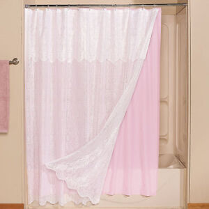 white lace shower curtain attached valance pink liner