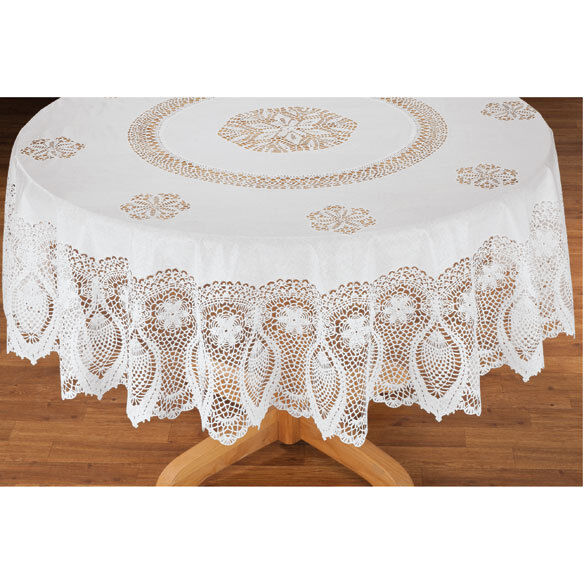Vinyl Lace Table Cover White Tablecloth Round Oval Oblong Dr