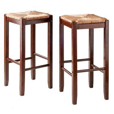 Winsome Wood Kaden Set of 2 Bar Stools with Rush Seats WIN-94280 (Rush Seat Stool Set)