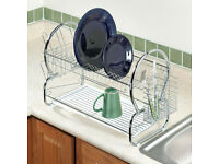 2 Tier Kitchen Stainless Steel White Chrome Dish Cutlery Rack Drainer Dryer.