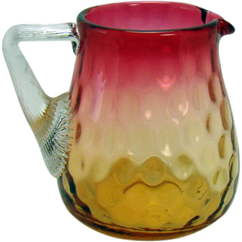 Inverted Thumbprint Amberina Glass Pitcher with Applied Handle - 1890