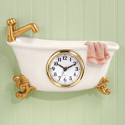 Small Clawfoot Bathroom Wall Clock Hanging Antique Bathtub Old Fashion Retro