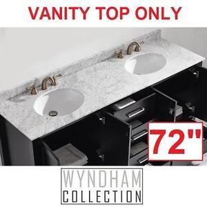 "NEW WYNDHAM 72"" MARBLE VANITY TOP - 111725043 - WHITE CARRERA MARBLE DOUBLE BASIN - BATH BATHROOM DECOR VANITIES TOPS..."