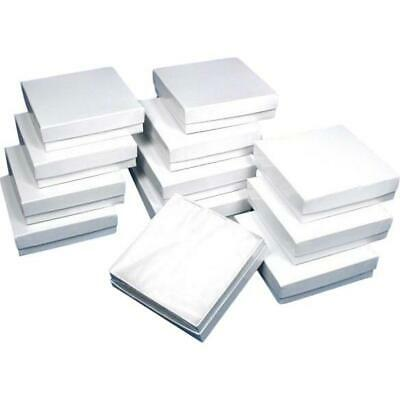 Cotton Filled Jewelry Gift Boxes White 3 58 12pcs