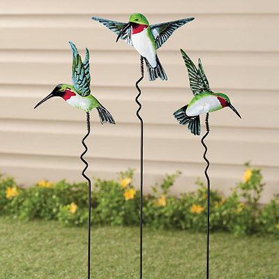 Metal Hummingbird Yard Stake Lawn Planter Garden Decor Outdoor ~ Set of 3 NEW ~