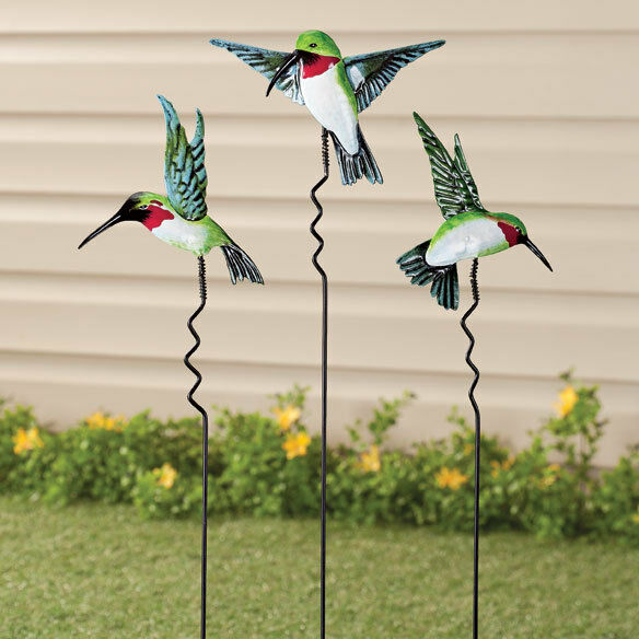 Metal Hummingbird Yard Stake Lawn Planter Garden Decor Outdo