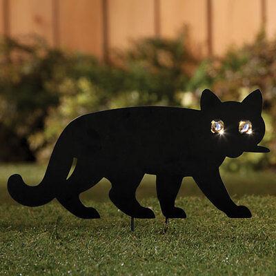 Solar black cat kitten metal garden lawn ...