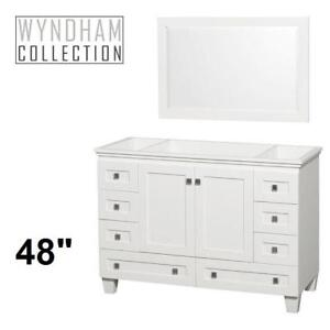 "NEW* ACCLAIM 48"" VANITY COMBO WCV800048SWHCXSXXM24 134151178 WYNDHAM COLLECTION WHITE CABINET WHITE MIRROR CABINETS V..."