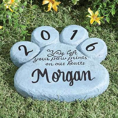 PERSONALIZED Paw Print Pet Dog Cat Memorial Stepping Stone Grave Marker
