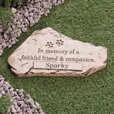 PERSONALIZED Dog Cat Pet Memorial Cemetery Paw Prints Grave Marker Tomb Stone