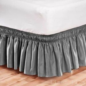 elastic bed skirt dust ruffle easy fit wrap around gray color queen size ebay. Black Bedroom Furniture Sets. Home Design Ideas