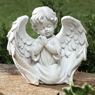 Cherub Garden Statue Angel Wings Praying Outdoor Indoor Decor White Yard Patio ~