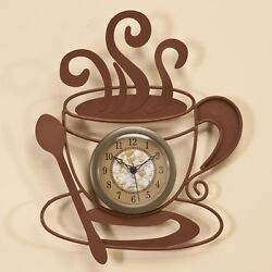 Cute Metal Coffee Cup Wall Clock -  Art Décor Pretty Nice Indoor Hobby Plaques