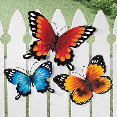 Metal Butterflies Garden Decor Outdoor Indoor Yard Hanging ~ Set of 3 ~